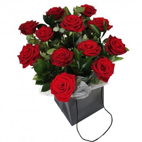 Dozen Roses in a Handtied